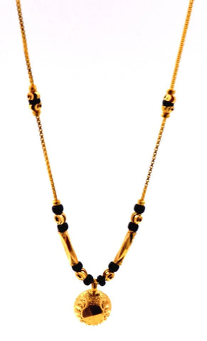 "22k Yellow Gold SIMPLE MODERN MANGALSUTRA BLACK BEADS HALF BALL Chain 16"" c433"
