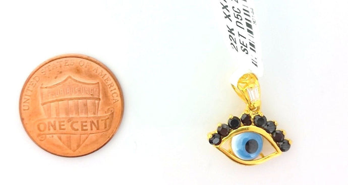 22k 22ct Solid Gold Charm Arabic Eye BLUE BLACK pendant gross finish s0224 - Royal Dubai Jewellers