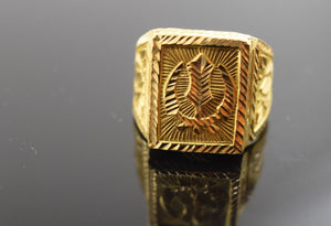 "22k Solid Gold ELEGANT MENS Ring BAND Religious Design ""RESIZABLE"" R332"