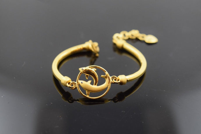 22k Solid Gold ELEGANT DOLPHIN PLAIN BABY CHILDREN BANGLE BRACELET b280 | Royal Dubai Jewellers