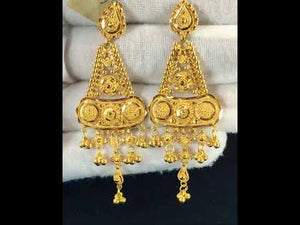 22k Earrings Solid Gold Ladies Elegant Classic Filigree Design E6621