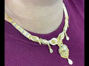 22k Necklace Set Beautiful Solid Gold Ladies Two Tone Floral Design LS997
