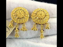 22k Earrings Solid Gold Ladies Jewelry Elegant Filigree Round Design E6622