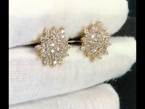 22k Earring Solid Gold Ladies Jewelry Elegant Flora Shape Stones Studs E6434