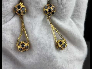 22k Earrings Solid Gold Ladies Jewelry Bead With Onyx Stone Insert Design E1238