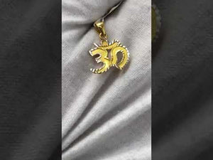 22k Pendant Solid Gold Elegant Simple Religious Hindu OM Cut Out Design P524
