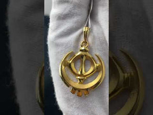 22k Pendant Solid Gold Elegant Simple Religious Sikh Khanda Cut Out Design P561z