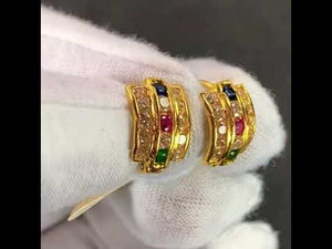 22k Earring Solid Gold Ladies Simple Clip On with Color Stone Design E6501