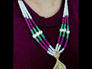 22k Necklace Set Solid Gold Ladies Classic Multi Color Stone Design LS150