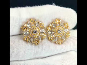 22k Earrings Solid Gold Ladies Jewelry Stone Encrusted Floral Design E5994