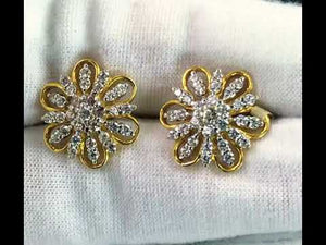 22k Earring Solid Gold Ladies Jewelry Elegant Flora Shape Stones Studs E6433
