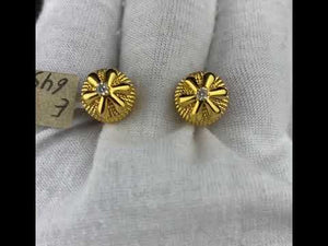 22k Earring Solid Gold Ladies Simple Classic Studs With Geometrics Design E6457