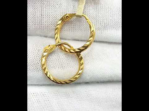 22k Earrings Solid Gold Ladies Jewelry Simple Hoops with Diamond Cutting E5967
