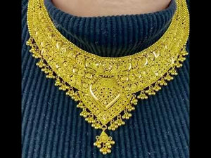 22k Necklace Set Beautiful Solid Gold Ladies Traditional Filigree Design LS993