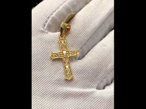 22k Pendant Solid Gold Simple Christian Cross With Stones Design P937