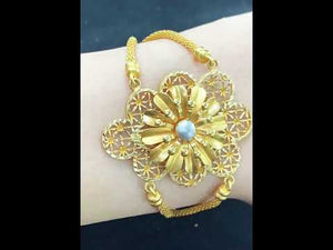 22k Bracelet Solid Gold Ladies Jewelry Classic Filigree Floral Design b4113