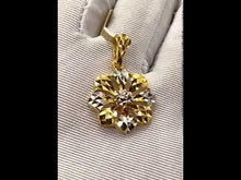 22k Pendant Solid Gold Ladies Jewelry Elegant Two Tone Floral Design P3052z