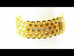 22k Bracelet Solid Gold Exclusive Luxurious Charm Mess Link Design B4058