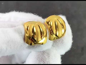 22k Earring Solid Gold Ladies Simple Clip On with Geometric Pattern Design E6495