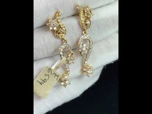 22k Earrings Solid Gold Ladies Elegant Filigree Floral Design with Stones E6594