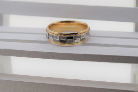 18k Elegant Unisex Band Modern Simple Box Cutting Two Tone Design MB4