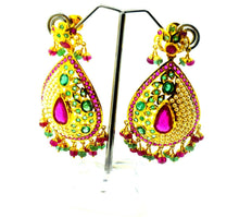 22k Solid Gold ELEGANT LONG EARRING DANGLING WITH PRECIOUS NATURAL STONE E588