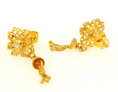 22k 22ct Solid Gold ELEGANT CUTE FLOWER DANGLING HANGING EarringS STUDS e5445