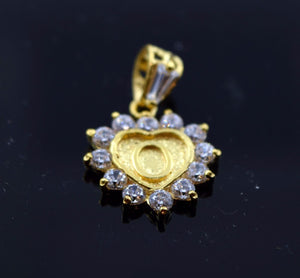22k Jewelry Solid Gold Heart Shape Pendent O letter with Stone po2