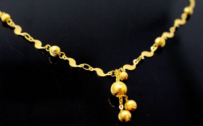22k Yellow Solid Gold Chain Necklace Classic Ball Design Length 18 inch c883