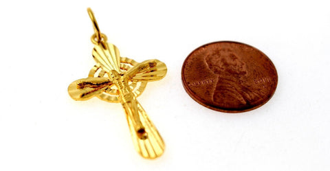 22k 22ct Solid Gold Christian Cross Pendant Charm Locket p1266