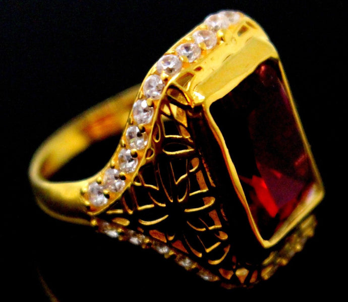 21k 21ct GOLD ELEGANT RED STONE DESIGNER LADIES RING SIZE 8
