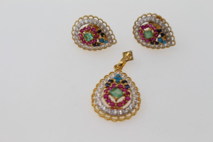 22k 22ct Solid Gold ELEGANT PENDANT SET Natural Mixed Stone Floral Design p1299
