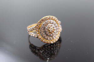 "22k Jewelry Solid Gold ELEGANT Round Stone Ring Size 9.5 ""RESIZABLE"" R1008"