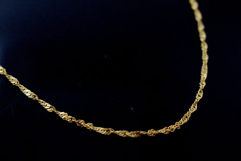 22k Chain Yellow Solid Gold Necklace Charm Simple Rope Link Design 16 inch c813