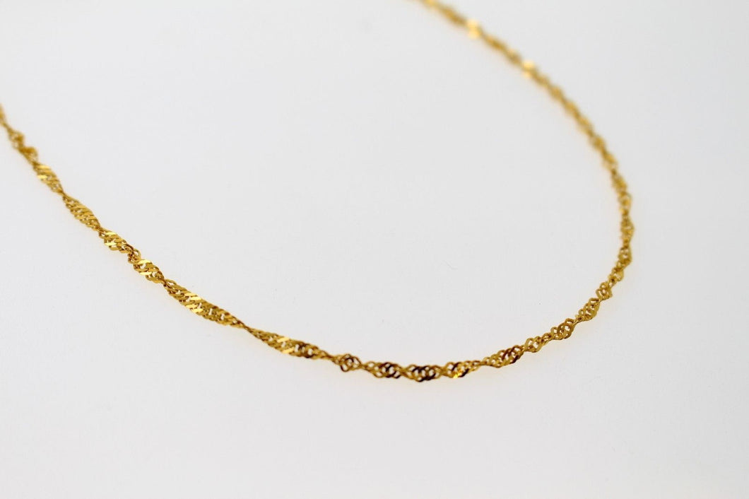 22k Chain Yellow Solid Gold Necklace Charm Simple Rope Link Design 16 inch c813 | Royal Dubai Jewellers