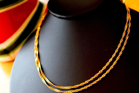 22k Gold Solid Yellow Elegant Chain Simple Curb Design Length 30 inch c625