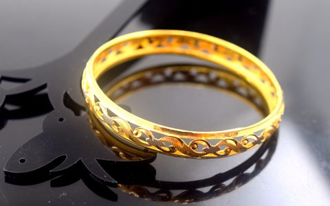 22k Jewelry Solid Gold ELEGANT PLAIN BABY CHILDREN BANGLE BRACELET cb330 | Royal Dubai Jewellers