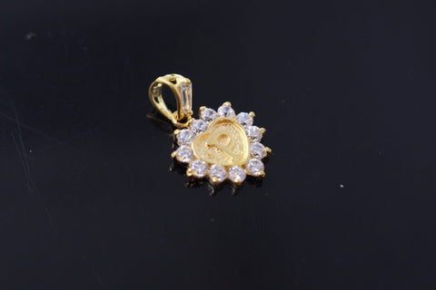 "22k 22ct Solid Gold ""P"" letter Heart Charm Pendant with Stones p790"