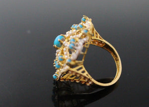 "22k 22ct Solid Gold ELEGANT Antique Ladies Stone Ring SIZE 7.5 ""RESIZABLE"" r1520"