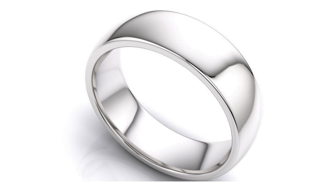 14k Solid Gold 7mm Comfort Fit Wedding Flat Band in 14k White Gold