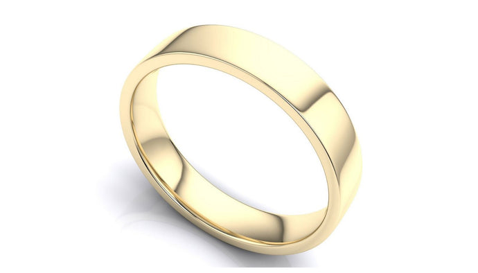 14k Solid Gold 5mm Comfort Fit Wedding Flat Band in 14k Yellow Gold