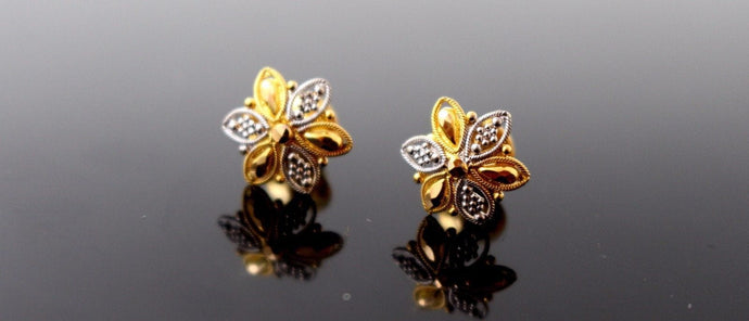 22k 22ct Solid Gold ELEGANT Charm Earring Unique Floral Design Two tone e5217