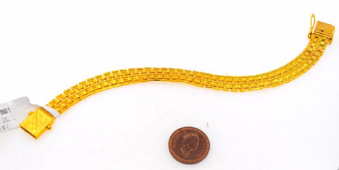 22k 22ct Solid Gold DESIGNER MENS BRACELET LENGTH 8.0 in B575 | Royal Dubai Jewellers