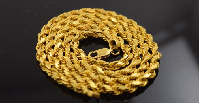 22k Jewelry Yellow Gold Rope Chain Solid Heavy Strong thick Necklace 20