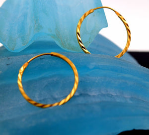 22k 22ct Solid Gold FANCY THIN MEDIUM SIZE HOOP BALI EARRING WITH BOX mf