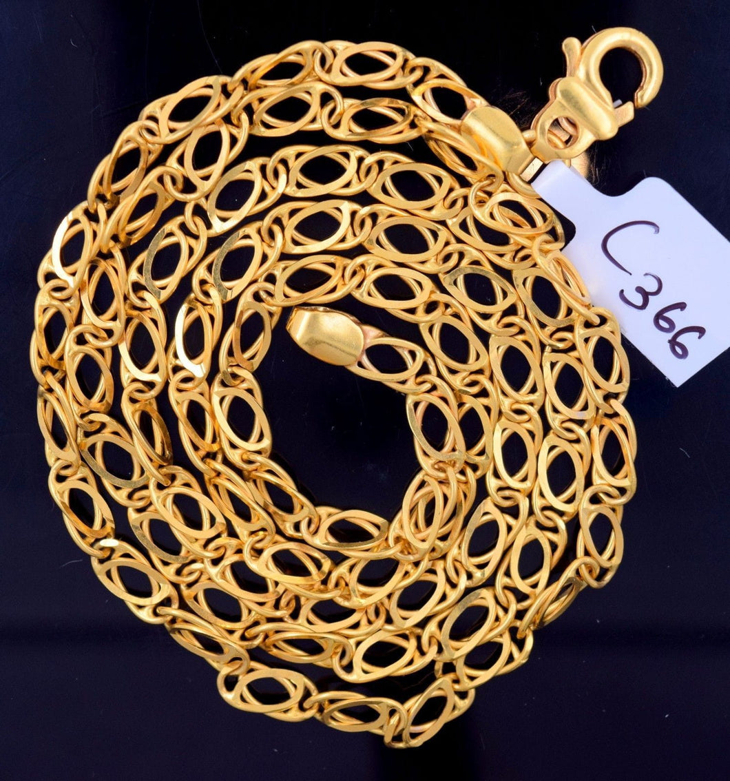 22k Jewelry Yellow Gold Rope Chain Solid Necklace Modern Curb Design 22