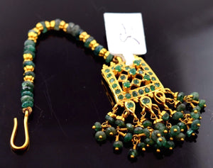 22k 22ct Yellow Gold TRADITIONAL EMERALD OXIDIZED MANGTIKKA TIKA BRIDAL WOMAN T2