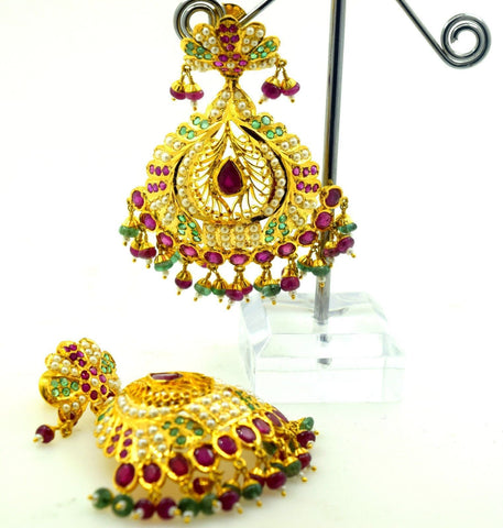 22k Solid Gold LONG EARRINGS DANGLING Chandeliers Ruby Pearl Emerald E625