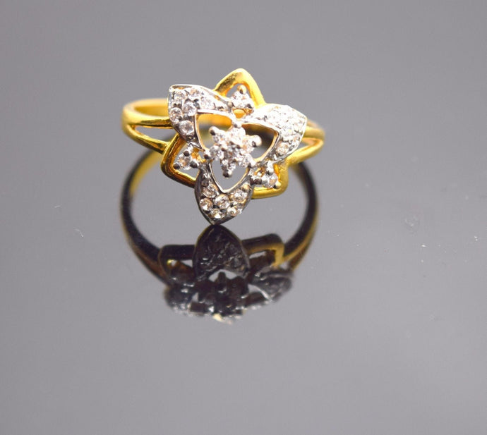 22k Solid Gold ELEGANT STONES Ring BAND Modern Design