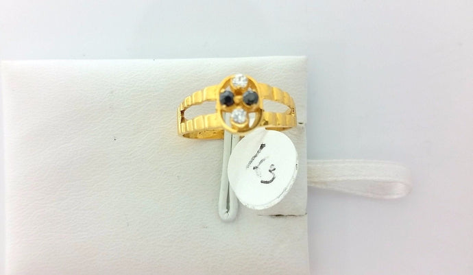 22k Solid Elegant Gold Ring Onyx and Diamonelle Size 6 custom size available 163